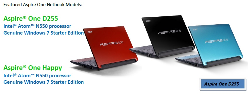 Acer Aspire One D255 and Aspire One Happy