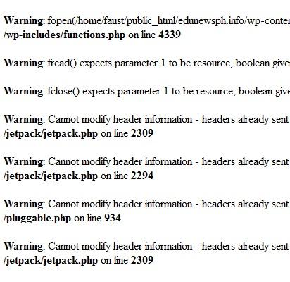 upgrade jetpack - php error codes