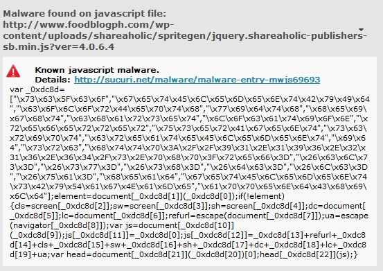 Malware Found in Javascript File - Shareaholic 4.0.6.4